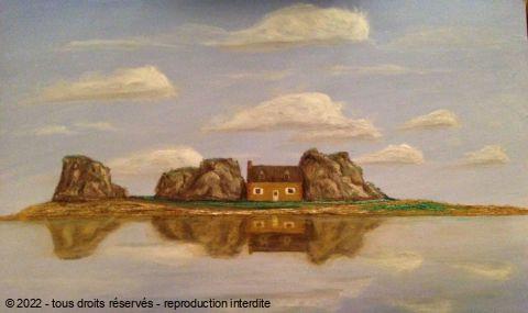 Maison entre les rochers plougrescant peinture gicquel stephane - Maison entre les rochers ...