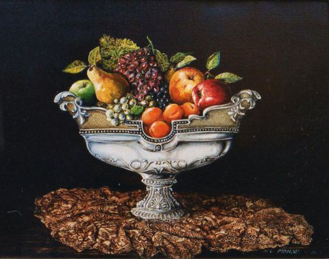 Jacques MONCHO - Coupe de fruits sur dentelles