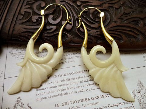 Bali-creation - boucles d'oreille laiton et os