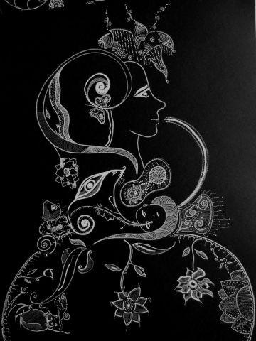 l 39 artiste chara femme en vie 1 graphisme acrylique sur papier noir. Black Bedroom Furniture Sets. Home Design Ideas