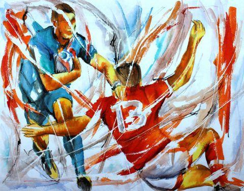 Rugby en croix - Peinture - Jean-Luc LOPEZ