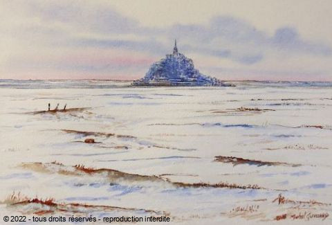 Michel Guillard - Le mont saint Michel sous la neige