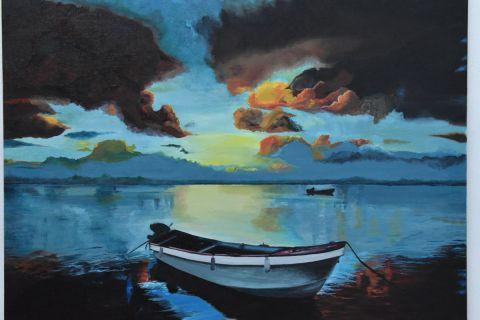 403020acc4a6 L artiste joky kamo - peinture paysage coucher de soleil