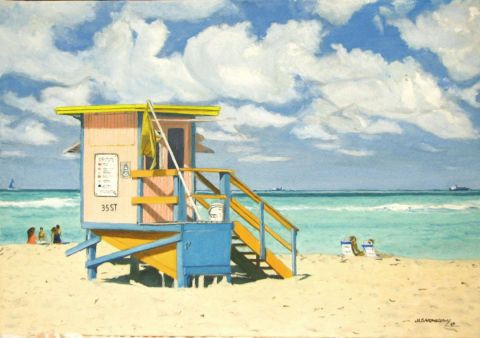 Jean-Louis BARTHELEMY - La plage de Miami Beach