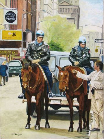 Jean-Louis BARTHELEMY - Policiers a cheval NYC