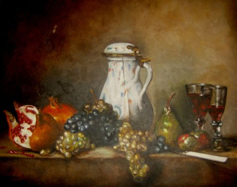 Abdou - Reproduction  Raisins et Grenades chardin