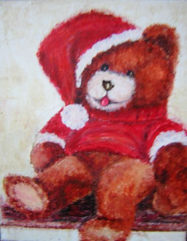 Nounours p re noel peinture betty - Nounours noel ...
