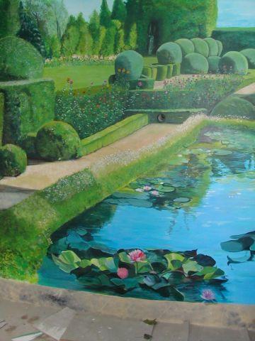 trompe l oeil sur mur jardin - Peinture - lynncha