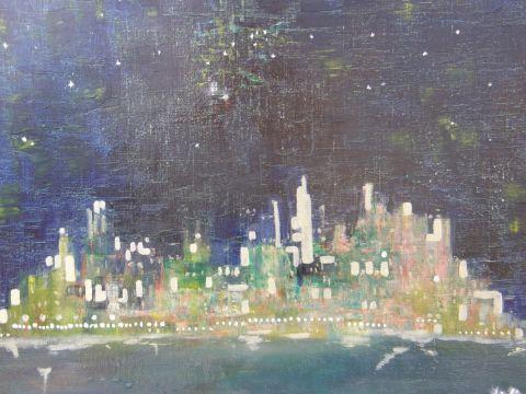 Une ville la nuit peinture lucette julien for Piscine eclairee la nuit