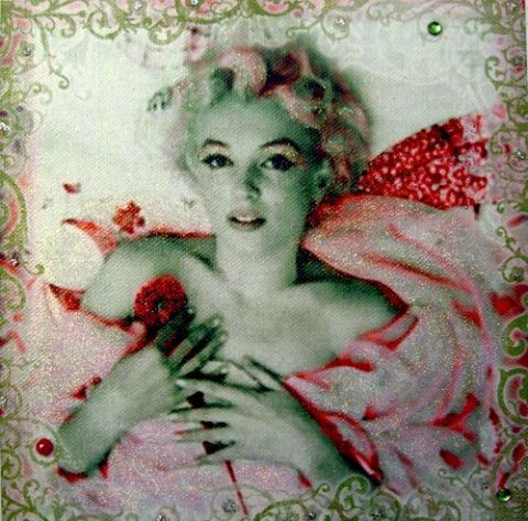 alfeo - Portrait baroque rouge Marilyn MONROE