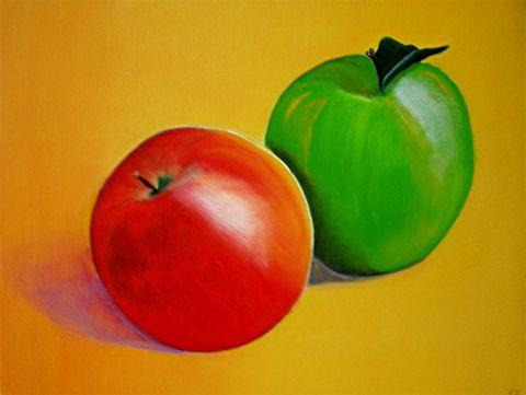 Pommes rouge et verte peinture juliecat for Peinture vert pomme