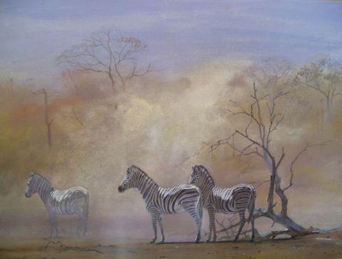 Zebres dans la poussiere peinture gines - Poussiere dans la maison ...