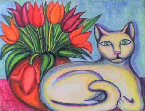 Stephane CUNY - Le chat au bouquet