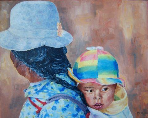 Grand m re et b b tibet peinture agathe bonnet for Agathe bonnet