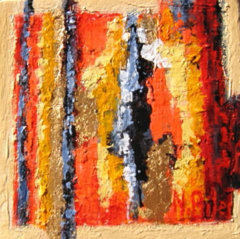 NICOLE BILES - ABSTRACTION EN ROUGE ET OR (1)