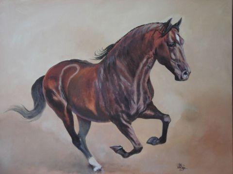 L 39 artiste lois cheval espagnol for Peinture sur fer a cheval