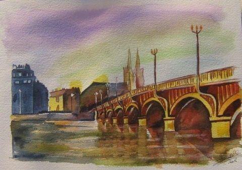Le pont de bayonne peinture jackisa - Peinture bayonne ...