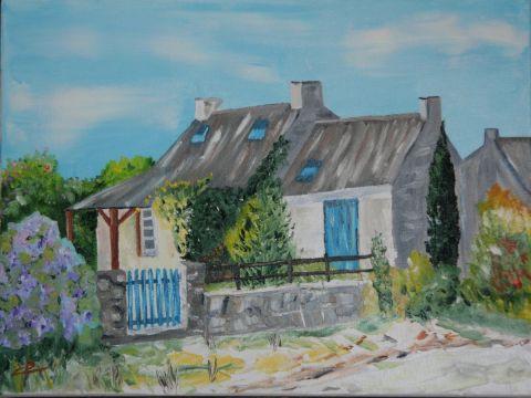Maison bretonne peinture toile18 for Peinture acrylique maison