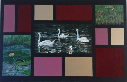 Maaike Poog - Timber-framed painting with swans