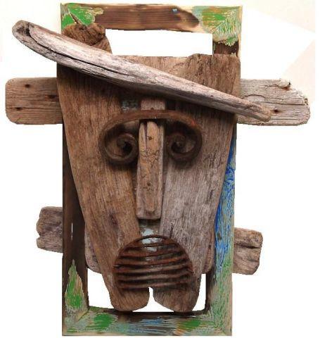 Masque bois flotté n°1 - Sculpture - Daniel Barre