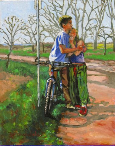 Dominique  Amendola  - Lovers leaning against a bicycle