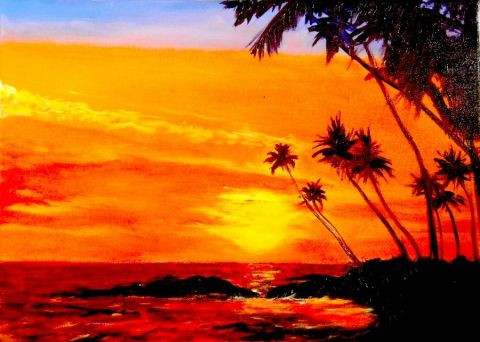 l 39 artiste 3d tropical art coucher de soleil orange huile sur toile. Black Bedroom Furniture Sets. Home Design Ideas