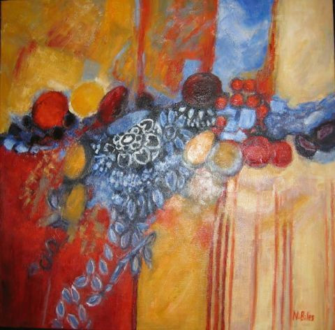 NICOLE BILES - FRUITS ROUGES SUR NAPPE BLEUE