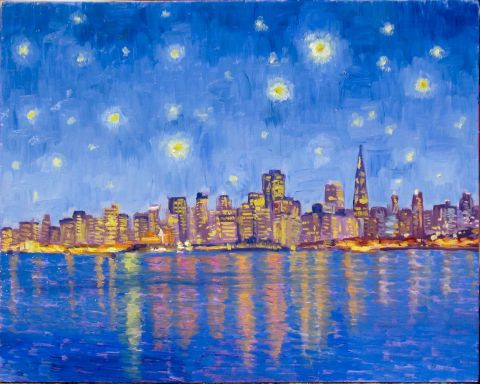 Dominique  Amendola  - San Francisco la nuit à la Van Gogh