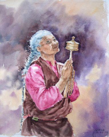 Tibetaine en priere peinture agathe bonnet for Agathe bonnet
