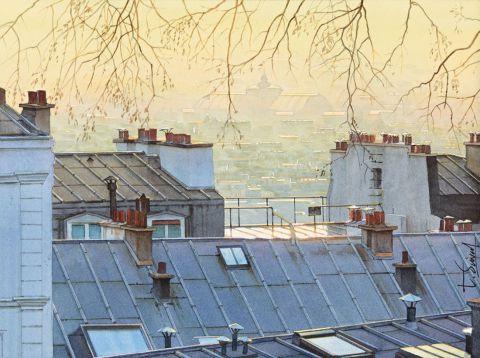 cr puscule sur les toits de paris peinture thierry duval. Black Bedroom Furniture Sets. Home Design Ideas