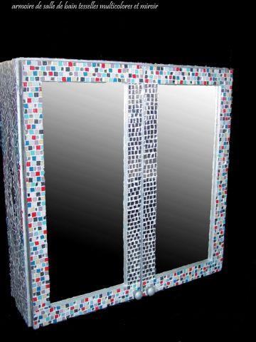armoire de salle de bain multicolore - Mosaique - DELPHINE ...