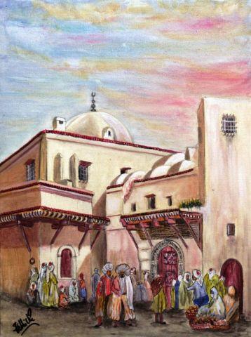 Casbah d 39 alger place de la grande mosqu e peinture for Peinture satinee algerie prix