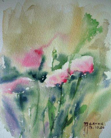 Coquelicots roses peinture agathe bonnet for Agathe bonnet