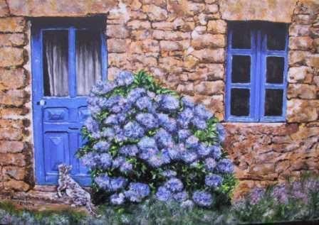 le chat et l 39 hortensia bleu peinture domnanteuil. Black Bedroom Furniture Sets. Home Design Ideas