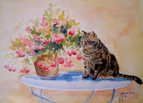 Agathe BONNET - le chat sur la table