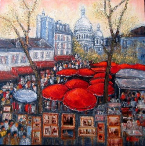place du tertre a paris peinture nicole biles. Black Bedroom Furniture Sets. Home Design Ideas