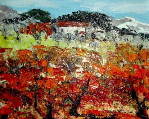 Vignes en automne dans le lub ron peinture marie for Peinture du liberon